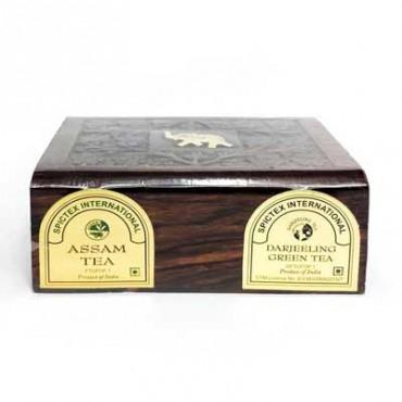 2 in 1 - Tea Assam Black & Darjeeling Green  Wooden Box